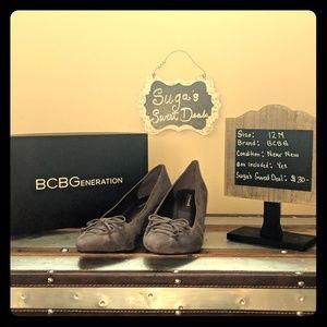 BCBG wedge suede gray pumps